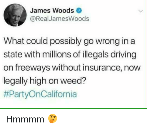 Driving, Memes, and Weed: James Woods  @RealJamesWoods  What could possibly go wrong in a  state with millions of illegals driving  on freeways without insurance, now  legally high on weed?  Hmmmm 🤔