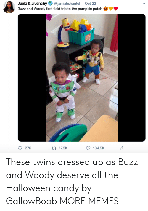 woody: @jamiahshantel Oct 22  Juelz & Jivenchy  Buzz and Woody first field trip to the pumpkin patch  276  t17.2K  134.5K These twins dressed up as Buzz and Woody deserve all the Halloween candy by GallowBoob MORE MEMES