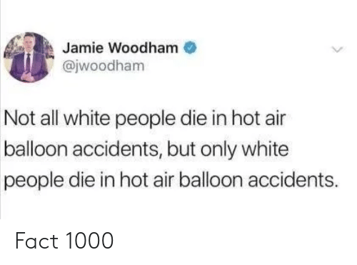 hot air balloon: Jamie Woodham  @jwoodham  Not all white people die in hot air  balloon accidents, but only white  people die in hot air balloon accidents. Fact 1000