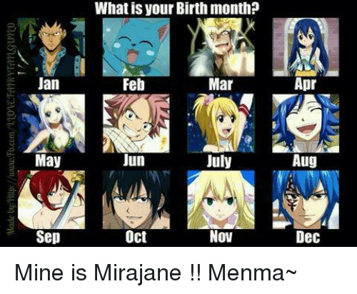 Anime Characters Birthdays In March : Jan may sep what is your birth month feb mar jun july oct