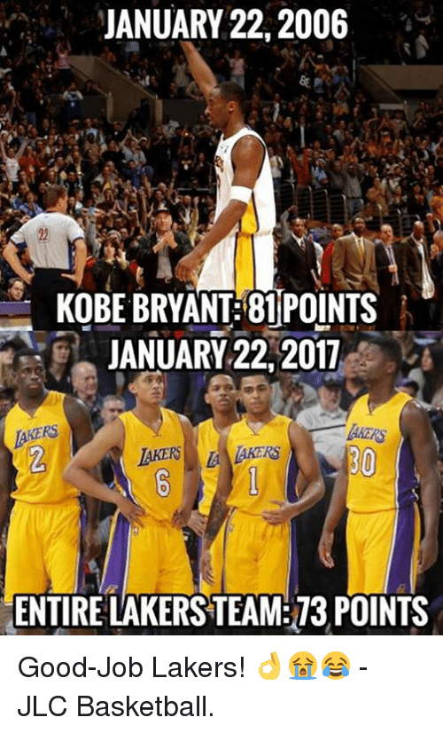 Kobe Bryant, Memes, and Kobe: JANUARY 22, 2006  KOBE BRYANT 81 POINTS  JANUARY 22, 2011  AKERS  ENTIRE LAKERSTEAM 73 POINTS Good-Job Lakers! 👌😭😂  - JLC Basketball.