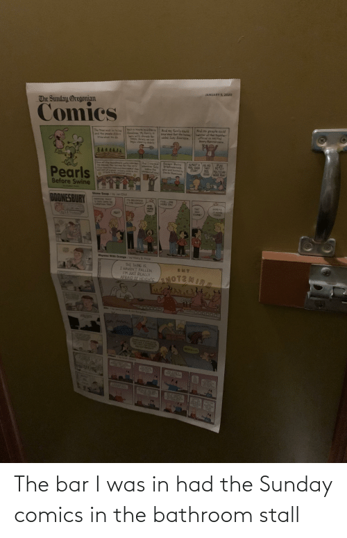 Tra: JANUARY 5, 2020  The Sunday Oregonian  Comics  And my people could  hammer all that together!  offered an excited  Henry Hammernase.  And my family could  Saw Nood for the hames  added Suzy Sawnese.  Sisit a minute soid Snevle  Shovelnese, My family  bern with shovels fer  neses. Serely we can  begin clearing debrla  The toun was in roins  and the people dider  ow what To do  RUN  PETEY  FEEL  ALMOST A NO NO.  FEEL GOOD THEY  STORY  Except Barry  Briefcasenase.  Who was buried by  Srevie Shovelnese  And I Can Sue  hemever fails  rhe  core  sill the To  POLITICIAN  GOOD NOSE RUN  belo  them  Pearls  Before Swine  Stone Soup/by Jan Elot  FINB ONG  MORE DAY.  DOONESBURY  EOS AOY  78 TAYS DOreN THS  A PIRE HAZARDI  4PRITZ  IT 6OMB  MORE  ONE  MORE  DAY!  THAT  WAS  CLOSE!  No  Rinymes With Orange/by Hilary B. Price  THE THING IS,  I HAVEN'T FALLEN.  IM JUST REALLY  AFRAID OF HEIGHTS  MOTEMIRS  Sept &jm Borgmsn  finfinti  ON BUGE  ATONES CH  AFTER  YENTER HARDAR  BRANA  Dib  by Seott Adanm  PORAM PE  UPAL  14ENT TRA CIOL  SHOGE  YGU BALI 1Y  uECAUSE  YOU REPIE  Wailh  FISHTING  MEON  THIE  Lare ARE  ENTIRIL  GIFFERENT  TOPEC The bar I was in had the Sunday comics in the bathroom stall