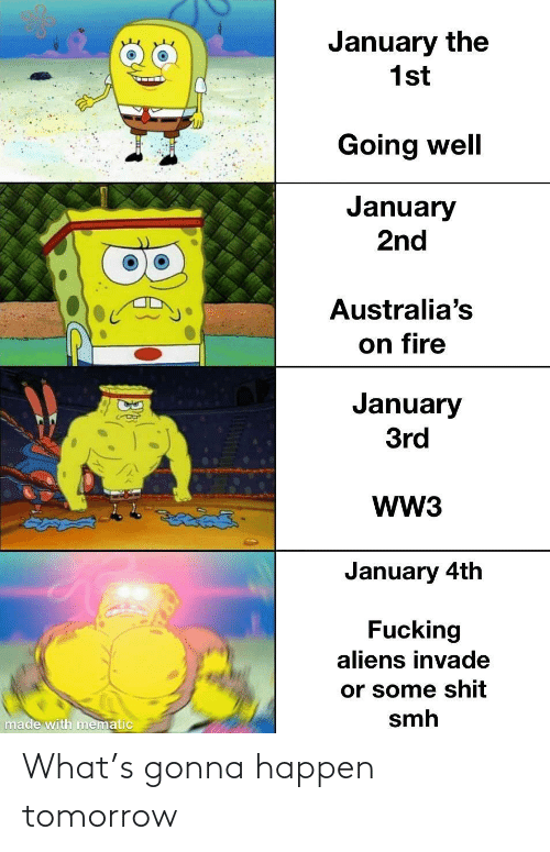 Aliens: January the  1st  Going well  January  2nd  Australia's  on fire  January  3rd  WW3  తైతడద్  January 4th  Fucking  aliens invade  or some shit  smh  made with mematic What's gonna happen tomorrow