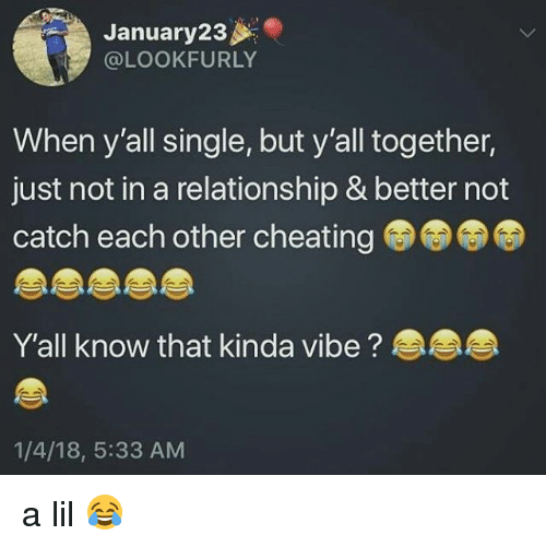 Cheating, Memes, and In a Relationship: January23  @LOOKFURLY  When y'all single, but y'all together,  just not in a relationship & better not  catch each other cheating  Y'all know that kinda vibe?  1/4/18, 5:33 AM a lil 😂