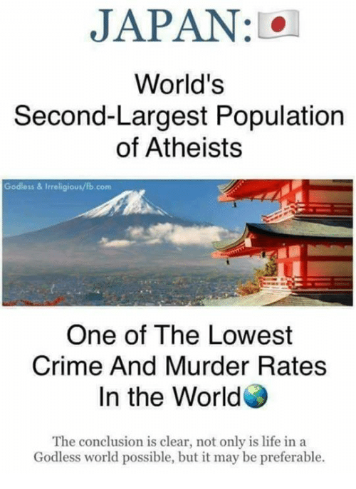 Crime, Life, and Memes: JAPAN : 101  World's  Second-Largest Population  of Atheists  Godless & Irreligious/fb.com  One of The Lowest  Crime And Murder Rates  In the World  The conclusion is clear, not only is life in a  Godless world possible, but it may be preferable.