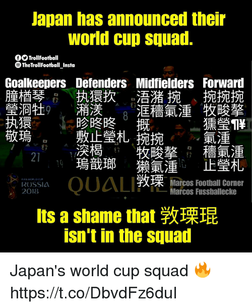 Football, Memes, and Squad: Japan has announced their  world cun squad.  TrollFootball  TheTrollFootball Insta  Midfielders Forward  浯潴捥 捥捥捥  洭穡氣湩牧畯擎  摡  GoalkeepersDefenders  童楢琴  瑩浻牡  执獧扻  潲渼  日参咚咚  敷止瑩札捥捥  湥楬  獯瑩1\  .  敬鳿  牧暖摮  穡氪湩  21  RUSSIA  2018  QUAL 敦  瑮  Marcos Football Corner  -Marcos Fussballecke  Its a shame that敦瑮琨  isn't in the squad  主旺  噮羊久 Japan's world cup squad 🔥 https://t.co/DbvdFz6duI