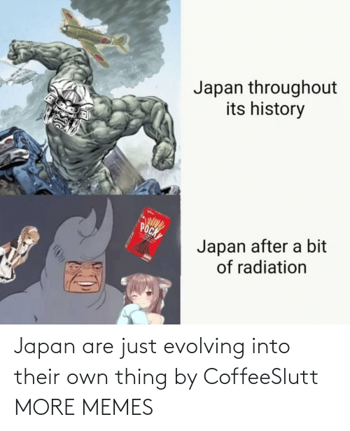 Japan: Japan throughout  its history  POCK  Japan after a bit  of radiation Japan are just evolving into their own thing by CoffeeSlutt MORE MEMES