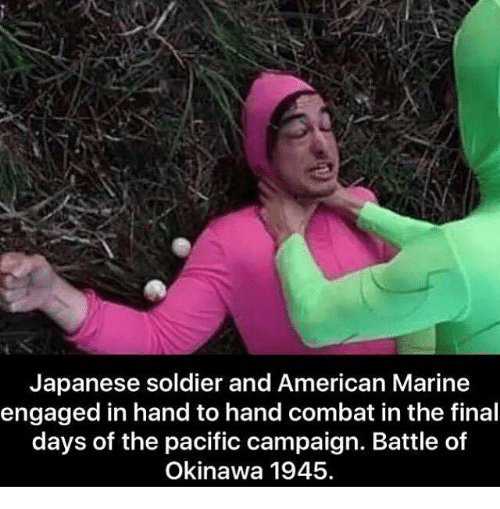 Finals, Soldiers, and American: Japanese soldier and American Marine  engaged in hand to hand combat in the final  days of the pacific campaign. Battle of  Okinawa 1945.
