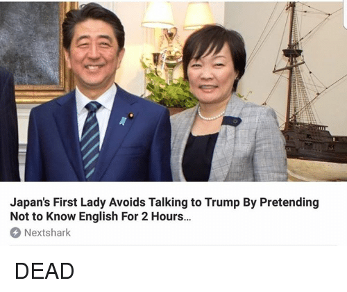 Memes, Trump, and English: Japan's First Lady Avoids Talking to Trump By Pretending  Not to Know English For 2 Hours...  Nextshark DEAD
