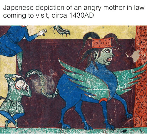 Classical Art, Angry, and Mother: Japenese depiction of an angry mother in law  coming to visit, circa 1430ALD  0