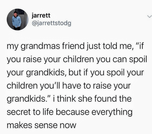 "Grandkids: jarrett  @jarrettstodg  my grandmas friend just told me, ""if  you raise your children you can spoil  your grandkids, but if you spoil your  children you'll have to raise your  grandkids."" i think she found the  II  secret to life because everything  makes sense now"