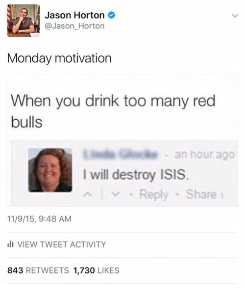 I Will Destroy Isis: Jason Horton  Jason Horton  Monday motivation  When you drink too many red  bulls  L an hour ago  I will destroy ISIS.  Reply Share  11/9/15, 9:48 AM  ill VIEW TWEET ACTIVITY  843  RETWEETS 1.730  LIKES