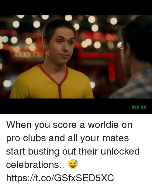 Jay, Soccer, and Pro: jay xx When you score a worldie on pro clubs and all your mates start busting out their unlocked celebrations.. 😅 https://t.co/GSfxSED5XC