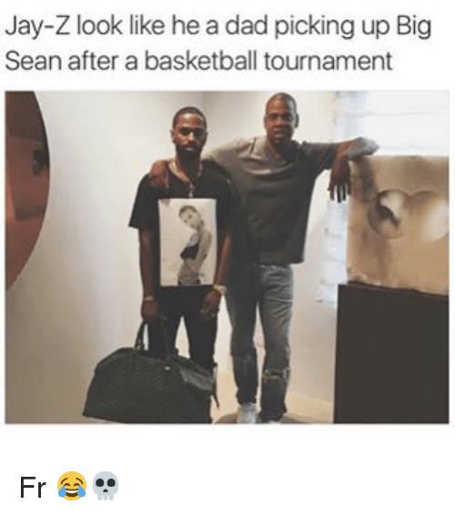 Basketball, Big Sean, and Dad: Jay-Z look like he a dad picking up Big  Sean after a basketball tournament Fr 😂💀