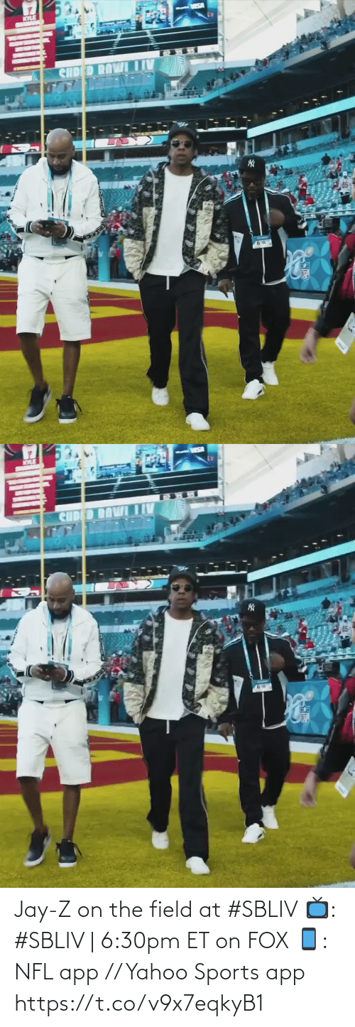 Jay Z: Jay-Z on the field at #SBLIV   📺: #SBLIV | 6:30pm ET on FOX 📱: NFL app // Yahoo Sports app https://t.co/v9x7eqkyB1