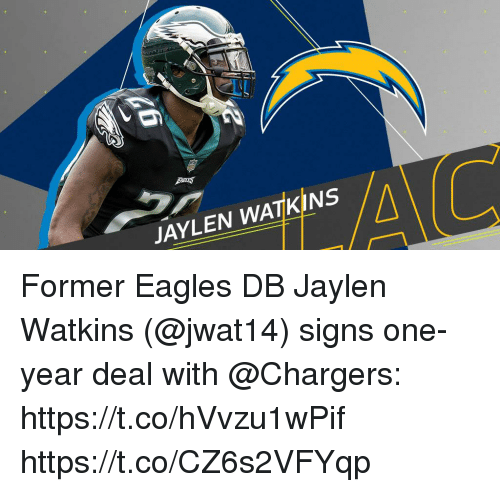 Philadelphia Eagles, Memes, and Chargers: JAYLEN WATKINS Former Eagles DB Jaylen Watkins (@jwat14) signs one-year deal with @Chargers: https://t.co/hVvzu1wPif https://t.co/CZ6s2VFYqp