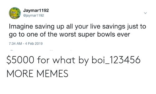 super bowls: Jaymar1192  @jaymar1192  Imagine saving up all your live savings just to  go to one of the worst super bowls ever  7:34 AM-4 Feb 2019 $5000 for what by boi_123456 MORE MEMES