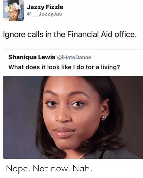 What Does It Look Like I Do For A Living: Jazzy Fizzle  JazzyJas  lgnore calls in the Financial Aid office.  Shaniqua Lewis @iHateDanae  What does it look like I do for a living? Nope. Not now. Nah.