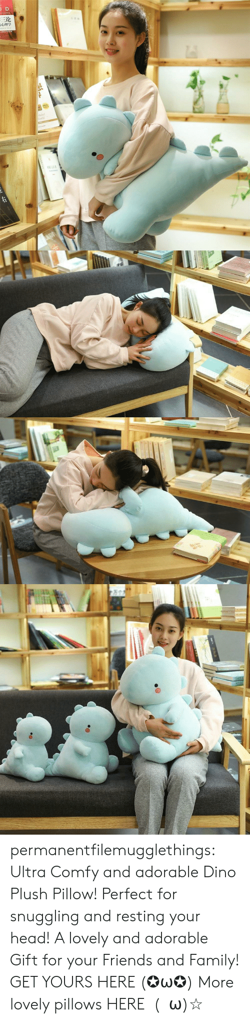 Resting: JD  三论  laint  orld  TDNAR  ww.e permanentfilemugglethings: Ultra Comfy and adorable Dino Plush Pillow! Perfect for snuggling and resting your head! A lovely and adorable Gift for your Friends and Family! GET YOURS HERE (✪ω✪) More lovely pillows HERE  (・ω)☆