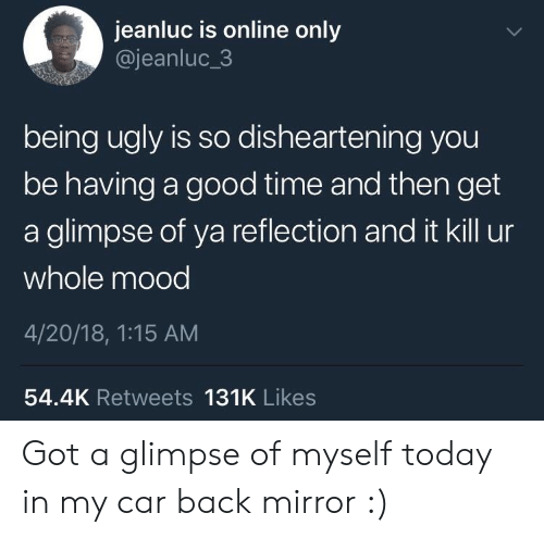 Having A Good Time: jeanluc is online only  @jeanluc_3  being ugly is so dishearten ing you  be having a good time and then get  a glimpse of ya reflection and it kill ur  whole mood  4/20/18, 1:15 AM  54.4K Retweets 131K Likes Got a glimpse of myself today in my car back mirror :)