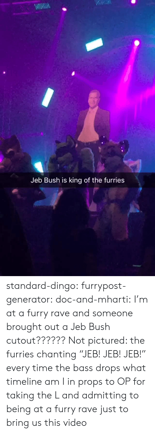 "Rave: Jeb Bush is king of the furries standard-dingo:  furrypost-generator:  doc-and-mharti: I'm at a furry rave and someone brought out a Jeb Bush cutout?????? Not pictured: the furries chanting ""JEB! JEB! JEB!"" every time the bass drops what timeline am I in  props to OP for taking the L and admitting to being at a furry rave just to bring us this video"