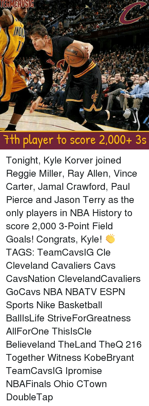 Basketball, Cavs, and Cleveland Cavaliers: Jee  Data  tth player to score 2,000+ 3s Tonight, Kyle Korver joined Reggie Miller, Ray Allen, Vince Carter, Jamal Crawford, Paul Pierce and Jason Terry as the only players in NBA History to score 2,000 3-Point Field Goals! Congrats, Kyle! 👏 TAGS: TeamCavsIG Cle Cleveland Cavaliers Cavs CavsNation ClevelandCavaliers GoCavs NBA NBATV ESPN Sports Nike Basketball BallIsLife StriveForGreatness AllForOne ThisIsCle Believeland TheLand TheQ 216 Together Witness KobeBryant TeamCavsIG Ipromise NBAFinals Ohio CTown DoubleTap
