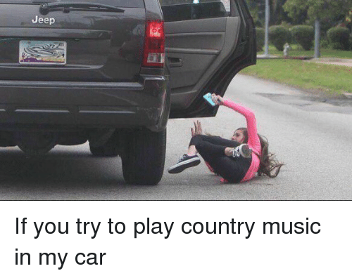 Music, Country Music, and Jeep: Jeep If you try to play country music in my car
