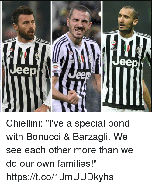 """Barzagli: Jeep  Jeep  Jee Chiellini: """"I've a special bond with Bonucci & Barzagli. We see each other more than we do our own families!"""" https://t.co/1JmUUDkyhs"""