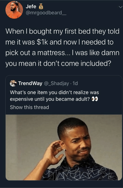jefe: Jefe  @mrgoodbeard_  When I bought my first bed they told  me it was $1k and now I needed to  pick out a mattress... I was like damn  you mean it don't come included?  TrendWay @_Shadjay 1d  What's one item you didn't realize was  expensive until you became adult?  Show this thread