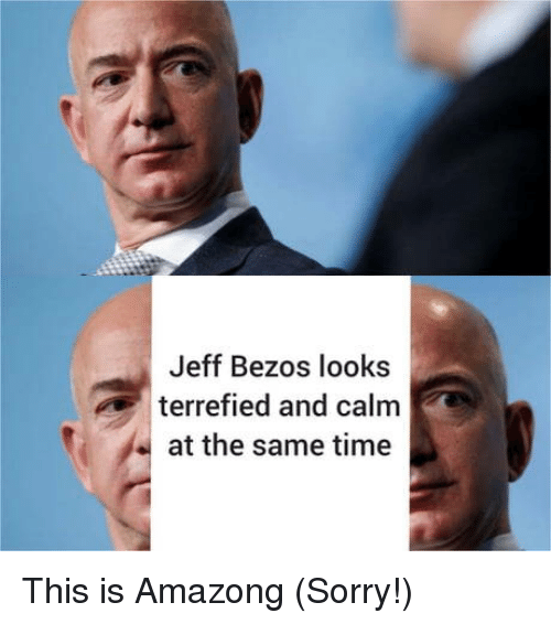Jeff Bezos: Jeff Bezos looks  terrefied and calm  at the same time This is Amazong (Sorry!)