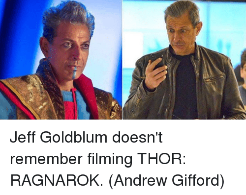 Jeff Goldblums: Jeff Goldblum doesn't remember filming THOR: RAGNAROK.  (Andrew Gifford)