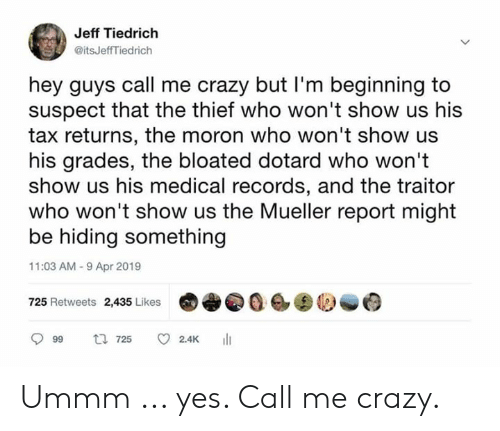 Ummm: Jeff Tiedrich  @itsJeffTiedrich  hey guys call me crazy but I'm beginning to  suspect that the thief who won't show us his  tax returns, the moron who won't show us  his grades, the bloated dotard who won't  show us his medical records, and the traitor  who won't show us the Mueller report might  be hiding something  11:03 AM-9 Apr 2019  725 Retweets 2,435 Likes0  999 725 C 2.4K 111 Ummm ... yes. Call me crazy.