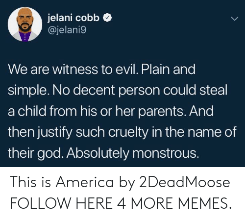 plain-and-simple: Jelani cobb  @jelani9  We are witness to evil. Plain and  simple. No decent person could steal  a child from his or her parents. And  then justify such cruelty in the name of  their god. Absolutely monstrous. This is America by 2DeadMoose FOLLOW HERE 4 MORE MEMES.