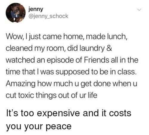 Too Expensive: jenny  @jenny_schock  Wow, I just came home, made lunch,  cleaned my room, did laundry &  watched an episode of Friends all in the  time that I was supposed to be in class.  Amazing how much u get done when u  cut toxic things out of ur life It's too expensive and it costs you your peace