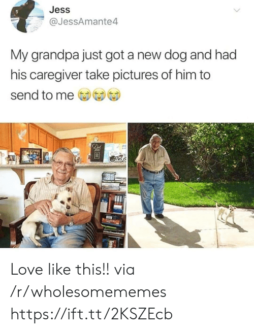 jess: Jess  @JessAmante4  My grandpa just got a new dog and had  his caregiver take pictures of him to  send to me  De Love like this!! via /r/wholesomememes https://ift.tt/2KSZEcb