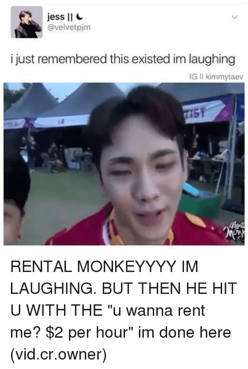 "Memes, 🤖, and Rent: jess ll  @velvetpjm  i just remembered this existed im laughing  IG II kimmytaev RENTAL MONKEYYYY IM LAUGHING. BUT THEN HE HIT U WITH THE ""u wanna rent me? $2 per hour"" im done here (vid.cr.owner)"