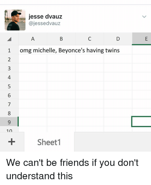 Memes, 🤖, and Jesse: jesse dvauz  ajes sedvauz  1 omg michelle, Beyonce's having twins  1 n  Sheet 1 We can't be friends if you don't understand this