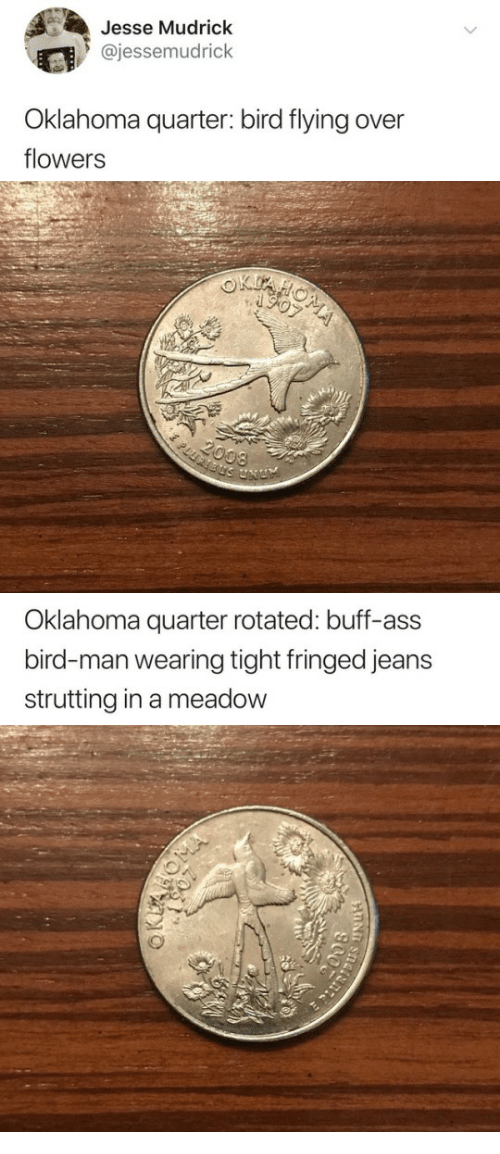 Meadow: Jesse Mudrick  @jessemudrick  Oklahoma quarter: bird flying over  flowers   Oklahoma quarter rotated: buff-ass  bird-man wearing tight fringed jeans  strutting in a meadow