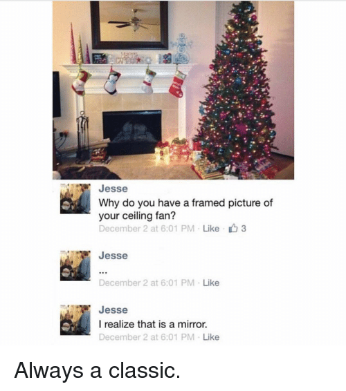 December 2: Jesse  Why do you have a framed picture of  your ceiling fan?  December 2 at 6:01 PM  Like 3  Jesse  December 2 at 6:01 PM  Like  Jesse  I realize that is a mirror.  December 2 at 6:01 PM  Like Always a classic.
