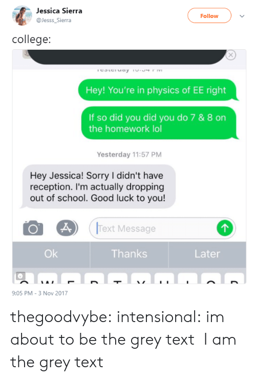 reception: Jessica Sierra  Follow  Jesss_Sierra  college:  Hey! You're in physics of EE right  If so did you did you do 7 & 8 on  the homework lol  Yesterday 11:57 PM  Hey Jessica! Sorry I didn't have  reception. I'm actually dropping  out of school. Good luck to you!  Text Message  Ok  Thanks  Later  9:05 PM-3 Nov 2017 thegoodvybe: intensional:  im about to be the grey text  I am the grey text