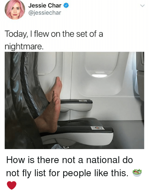 Memes, Today, and 🤖: Jessie Char  @jessiechar  Today, I flew on the set of a  nightmare How is there not a national do not fly list for people like this. 🥗❤️