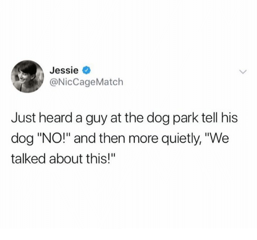 "Dog Park: Jessie  @NicCageMatch  Just heard a guy at the dog park tell his  dog ""NO!"" and then more quietly, ""We  talked about this!"""