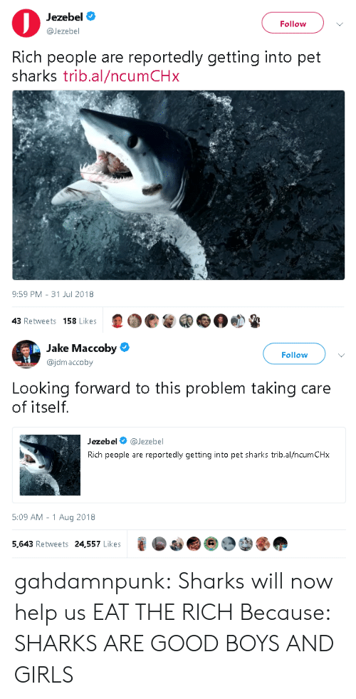 Jezebel: Jezebel  @Jezebel  Follow  Rich people are reportedly getting into pet  sharks trib.al/ncumCHx  9:59 PM- 31 Jul 2018  43 Retweets 158 Likes   Jake Maccoby  @jdmaccoby  Follow  Looking forward to this problem taking care  of itself.  Jezebel @Jezebel  Rich people are reportedly getting into pet sharks trib.al/ncumCHx  5:09 AM -1 Aug 2018  5,643 Retweets 24,557 Likes gahdamnpunk:  Sharks will now help us EAT THE RICH  Because: SHARKS ARE GOOD BOYS AND GIRLS
