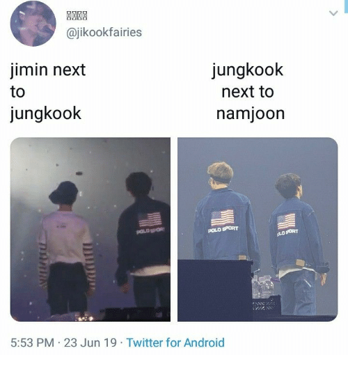 Polo: @jikookfairies  jimin next  jungkook  to  next to  jungkook  namjoon  POLD  POLO SPORT  gLOSORT  5:53 PM 23 Jun 19 Twitter for Android