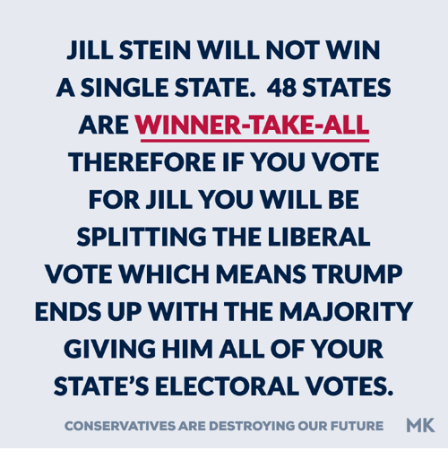 memes: JILL STEIN WILL NOT WIN  A SINGLE STATE. 48 STATES  ARE WINNER-TAKE-ALL  THEREFORE IF YOU VOTE  FOR JILL YOU WILL BE  SPLITTING THE LIBERAL  VOTE WHICH MEANS TRUMP  ENDS UP WITH THE MAJORITY  GIVING HIM ALL OF YOUR  STATE'S ELECTORAL VOTES.  CONSERVATIVESARE DESTROYING OUR FUTURE MK