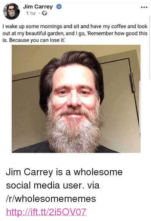 "Beautiful, Jim Carrey, and Social Media: Jim Carrey  1 hr  I wake up some mornings and sit and have my coffee and look  out at my beautiful garden, and I go, Remember how good this  is. Because you can loseit <p>Jim Carrey is a wholesome social media user. via /r/wholesomememes <a href=""http://ift.tt/2i5OV07"">http://ift.tt/2i5OV07</a></p>"