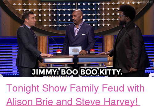 "tonight show: JIMMY: BOO BOO, KITTY <p><a href=""https://www.youtube.com/watch?v=WroaEWqqGlg"" target=""_blank"">Tonight Show Family Feud with Alison Brie and Steve Harvey! </a></p>"