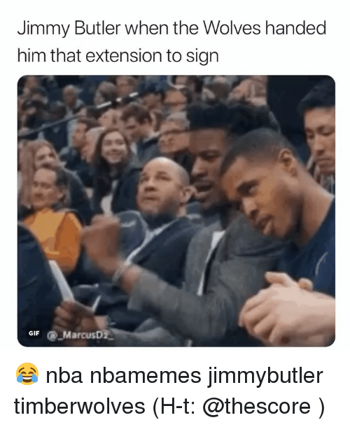 timberwolves: Jimmy Butler when the Wolves handed  him that extension to sign  GIFMarcusD 😂 nba nbamemes jimmybutler timberwolves (H-t: @thescore )
