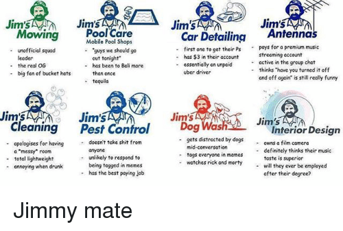 """Definitely, Dogs, and Drunk: Jim's  Jim's  Jim'  Jim's  MS  JIS  Pool Care  Mobile l Shops  Car Detailing Antennas  first one to get their Pspays for a premium music  Mowing  """"guys we should go  out tonight  has been to Bali more  - unofficial squad  -  streaming account  active in the group chat  thinks """"have you turned it off  and off again"""" is still really funny  - has $3 in their account  - essentially an unpaicd  -  - the real OG  - big fan of bucket hats an once  -  uber driver  - tequila  Jim's  Jim's  Jim's  Cleaning Pest Control Dog Was  Jim's  Interior Desian  apologises for having  a """"messy"""" room  total lightweight  annoying when drunk  doesn't take shit from  anyone  unlikely to respond to  being togged in memes  has the best paying job  gets distracted by dogs owns a film camera  mid-conversation  togs everyone in memes  watches rick and morty will they ever be employed  -  definitely thinks their music  taste is superior  -  -  -  -  after their degree? Jimmy mate"""