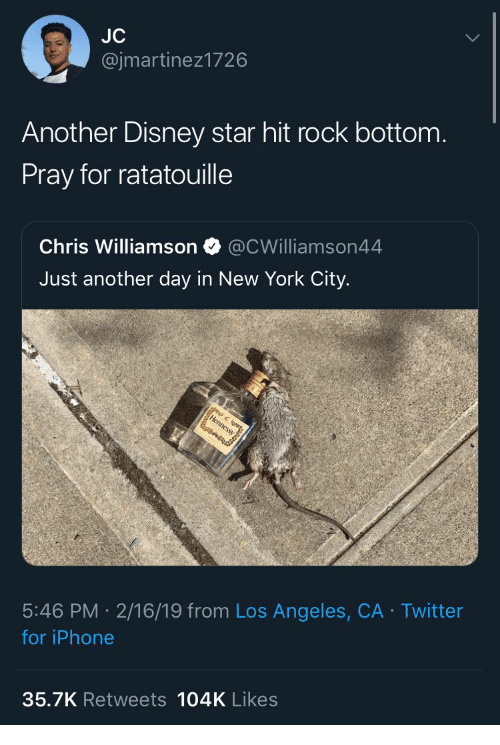Ratatouille: @jmartinez1726  Another Disney star hit rock bottom  Pray for ratatouille  Chris Williamson @CWilliamson44  Just another day in New York City.  5:46 PM 2/16/19 from Los Angeles, CA Twitter  for iPhone  35.7K Retweets 104K Likes